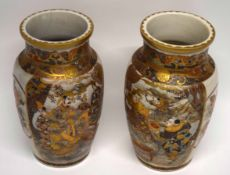 Pair of Japanese Meiji period Satsuma ware vases decorated in typical fashion, 24cm high (2) (