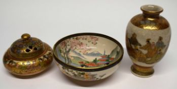 Group of Satsuma wares including a Koro and cover, a Satsuma vase signed in gold to base and a