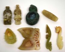 Group of small Chinese jade items and a stone carving of a rabbit and a jade type brush washer, (8)