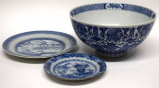 Chinese porcelain blue and white bowl decorated in Ming style and two small Chinese blue and white