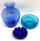 Murano blue dish with Finnish label and a large blue Navo vase of ribbed shape, with further blue