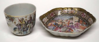 Chinese porcelain cup, polychrome decoration of Chinese figures together with an 18th century