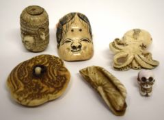 Group of netsuke and ivory carvings (qty)