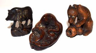 Group of carved netsuke