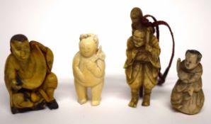Group of four netsuke