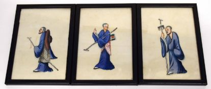 Group of three Chinese watercolours of gentlemen, framed in black wooden frames (3)