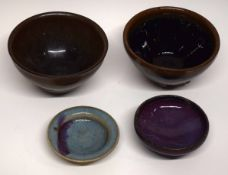 Song dynasty type small dish with a Sang de Beouf part glaze and further small dish with similar