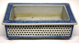 Late 18th/early 19th Century Chinese porcelain planter with pierced sides and blue and white design