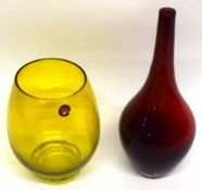 Green tinted Orrefors vase together with a further Swedish red ground art glass vase (2)