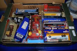 GROUP OF VARIOUS TOY CARS INCLUDING A FIRE ENGINE, CHAD VALLEY LONDON BUS, SHELL OIL TANKER ETC