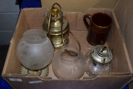 BOX CONTAINING OIL LAMPS AND TWO SHADES