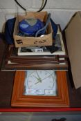 WALL CLOCK IN WOODEN FRAME, A CD PLAYER AND PICTURES