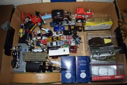 BOX CONTAINING VARIOUS DINKY TOYS INCLUDING MODEL OF THE ASTON MARTIN FROM GOLDFINGER AND THE