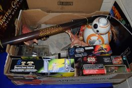 LARGE BOX OF MAINLY STAR WARS MEMORABILIA INCLUDING IMPERIAL SPIDER BIKE, GUNGAN ASSAULT CANNON