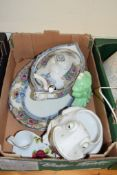 BOX CONTAINING CHINA WARES INCLUDING 19TH CENTURY TUREEN AND STAND, TWO CERAMIC FROGS
