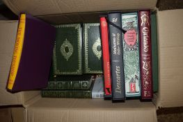 BOX CONTAINING VARIOUS HARDBACK BOOKS INCLUDING THE MOVING TOYSHOP PUBLISHED BY THE FOLIO SOCIETY