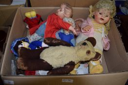 BOX CONTAINING SOFT TOYS AND DOLLS