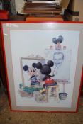 LARGE PRINT OF MICKEY MOUSE IN RED WOODEN FRAME
