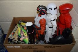 BOX CONTAINING VARIOUS STAR WARS MEMORABILIA INCLUDING THE SPEEDER BIKE AND MODELS OF DARTH VADER