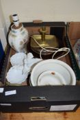 BOX CONTAINING VARIOUS CHINA INCLUDING A CHINESE STYLE LAMP AND A BRASS CANDLESTICK