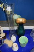 LARGE GLASS VASE WITH A CUT GLASS DESIGN PLUS SOME STUDIO POTTERY VASES