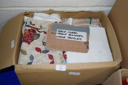 BOX OF VARIOUS TABLE LINENS INCLUDING CLOTHS AND RUNNERS