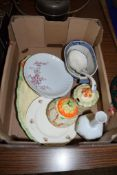 BOX OF CHINA INCLUDING TWO POTTERY JAM JARS