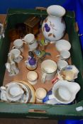 BOX CONTAINING CERAMICS INCLUDING DOULTON LARCHMONT COFFEE CANS ETC