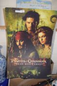 LARGE CARDBOARD ADVERTISING POSTER OF THE PIRATES OF THE CARIBBEAN