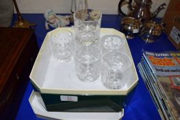 BOX CONTAINING GROUP OF CUT GLASS TUMBLERS WITH LEAF DESIGN