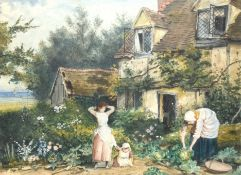 M Salvage, Figures before a cottage, watercolour, signed and dated 94 lower left, 33 x 43cm