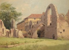 """V Carter, """"Leiston Abbey, Suffolk"""", watercolour, signed lower right, 36 x 47cm"""