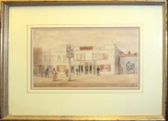 """B F, """"The Woodman Public House"""", watercolour, initialled lower right, 17 x 30cm"""