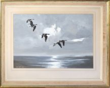 Rex Flood, Geese in flight, gouache, signed and dated 1972 lower left, 35 x 51cm