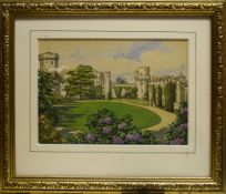 F Thomas, Views of Warwick Castle, group of three watercolours, two signed, 12 x 18cm (3)