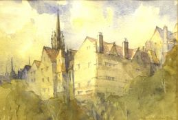 """Kenneth Robertson, """"Ramsay Gardens, Edinburgh"""", watercolour, signed lower right, 17 x 24cm with"""