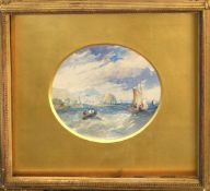 English School (19th century), Seascape, 15 x 18cm, oval