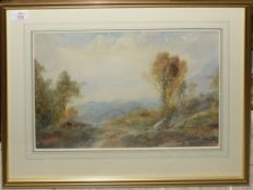 Albert Pollitt, Landscape with figures and encampment, watercolour, signed and dated