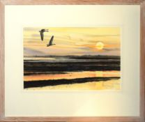 Keith Brockie, Geese in flight at sunset, watercolour, signed and dated 7/3/94 lower right, 28 x