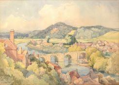 W Redworth, River landscape with bridge, watercolour, signed lower left, 36 x 49cm