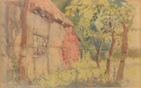 English School (20th century), Cottage, watercolour, 17 x 24cm