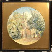 G Hobson, Church scene, watercolour, signed lower right, 37cm diam