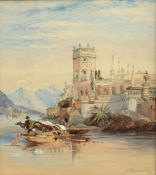 H Samuels, Italian lake scene, watercolour, signed and dated 1896 lower right, 30 x 22cm