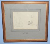 Henry Bright (1810-1873), Church Study, pencil drawing, signed lower left, 22 x 23cm, together