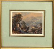 English School (19th century), River landscape with Mill and bridge, watercolour, 16 x 21cm