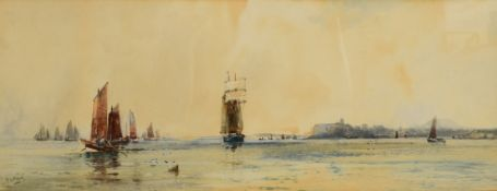 Frank Henry Mason, Sailing ships off Dover, watercolour, signed lower left, 23 x 73cm