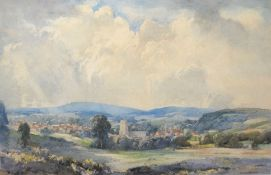 George R Rushton, Landscape, possibly Dedham Vale, watercolour, signed lower right, 28 x 43cm