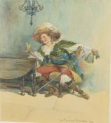 W Fletcher Thomas, Cavalier drinking, watercolour, signed and dated 1909, 23 x 16cm