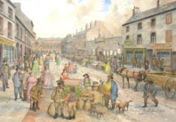 """J Donaldson, """"Donegall St, Belfast, 1830"""", (20th century copy), watercolour, signed lower right,"""