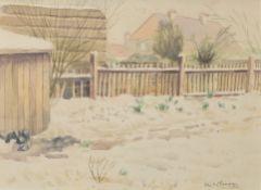 "Leslie Morris Leopold Brangwyn (20th century), ""Snow in the garden"", watercolour, signed lower"